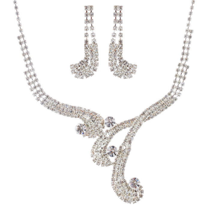 Bridal Wedding Jewelry Set Necklace Earring Crystal Rhinestone Vintage Silver