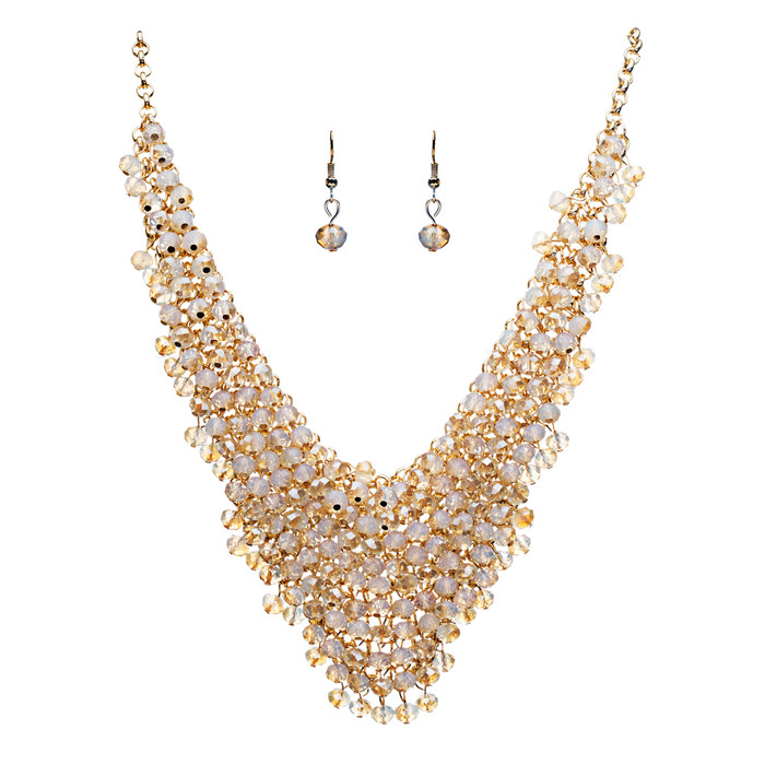 Gorgeous Glass Bead Drape Bib Style Design Statement Necklace Set Gold Beige
