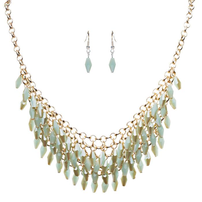 Gorgeous Glass Bead 3-Row Bib Style Design Statement Necklace Set Gold Green