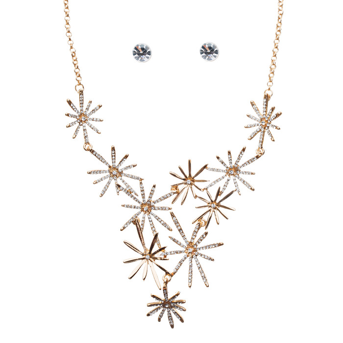 Beautiful Sparkling Crystal Rhinestone Star Design Statement Necklace Set Gold