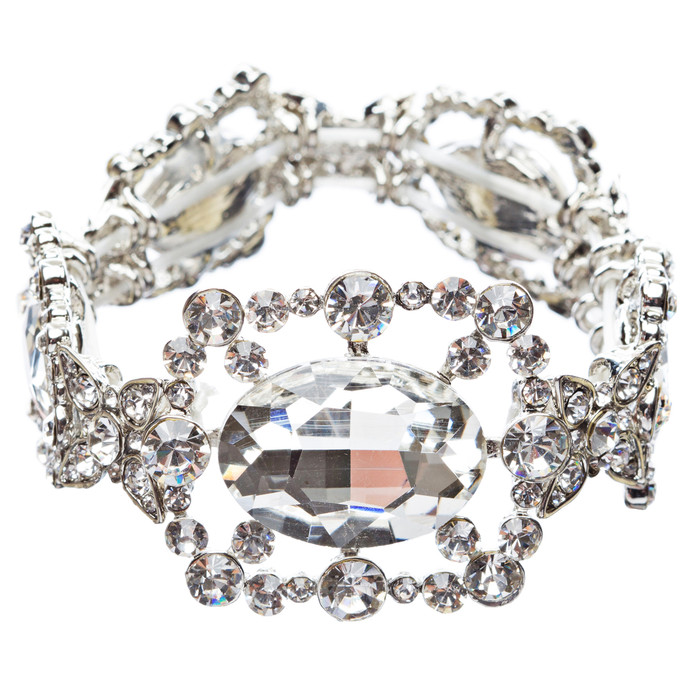 Bridal Wedding Jewelry Oval Cluster Glass Stone Stretch Fashion Bracelet B434