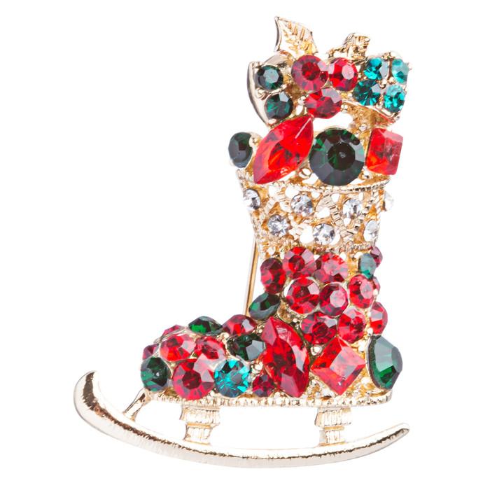 Christmas Jewelry Crystal Rhinestone Santa's Sleigh Gift Charm Brooch Pin BH91