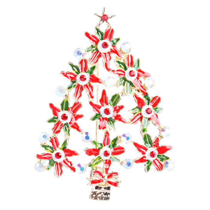 Christmas Jewelry Crystal Rhinestone Dazzle Sparkle Tree Charm Brooch Pin BH92