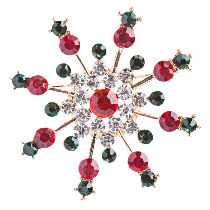 Christmas Jewelry Crystal Rhinestone Colorful Snowflake Charm Brooch Pin BH95