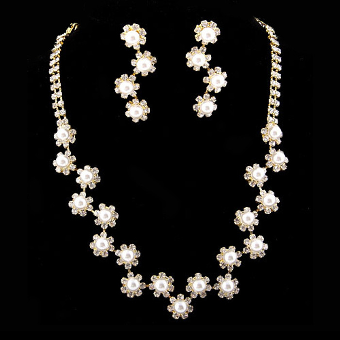 Bridal Wedding Jewelry Set  Necklace Earring Floral Rhinestone Pearls Gold