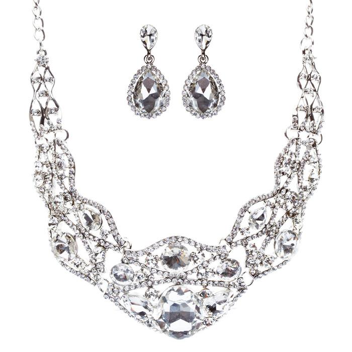 Bridal Wedding Jewelry Set Crystal Rhinestone Gorgeous Bib Design Necklace J584