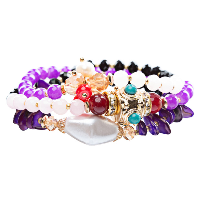 Beautiful Stone Bead Tribal Bohemian Statement Wrap Fashion Bracelet B450 Purple