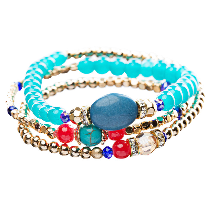 Beautiful Stone Bead Tribal Bohemian Statement Wrap Fashion Bracelet B451 Blue