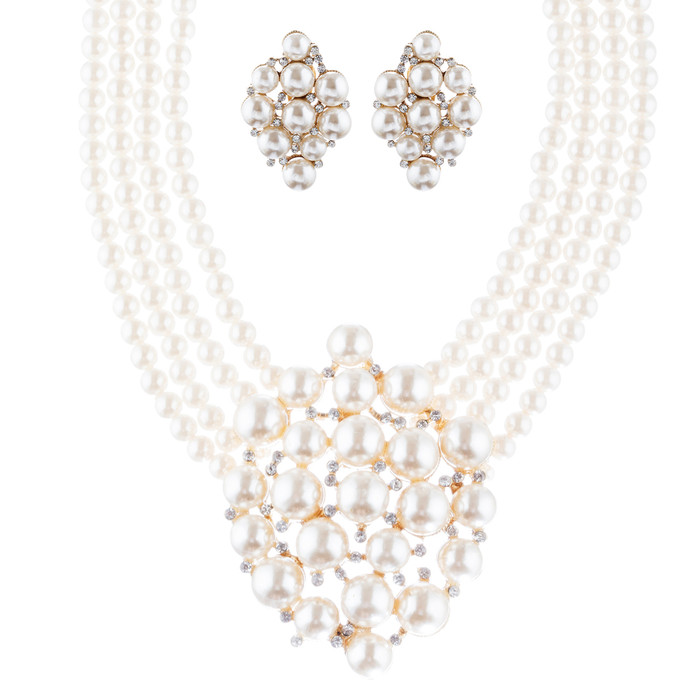 Bridal Wedding Jewelry Set Necklace Earring Crystal Rhinestone SM V Drop GD