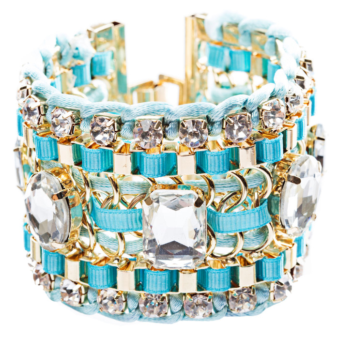 Beautiful Stone Fabric Crystal Rhinestone Latch Fashion Wide Bracelet B456 Blue