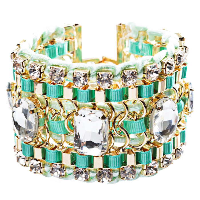 Beautiful Stone Fabric Crystal Rhinestone Latch Fashion Wide Bracelet B456 Green