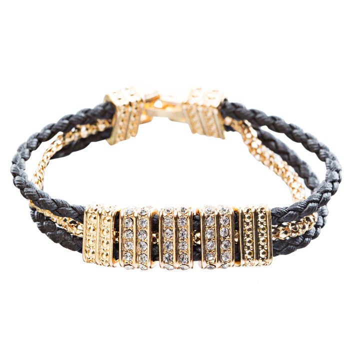 Simple Style Rope Cord Crystal Rhinestone Fashion Bracelet B457 Black Gold