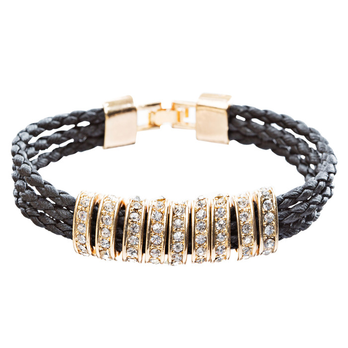 Simple Style Rope Cord Crystal Rhinestone Fashion Bracelet B458 Black Gold