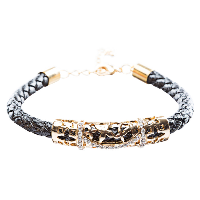 Simple Style Rope Cord Crystal Rhinestone Fashion Bracelet B459 Black Gold