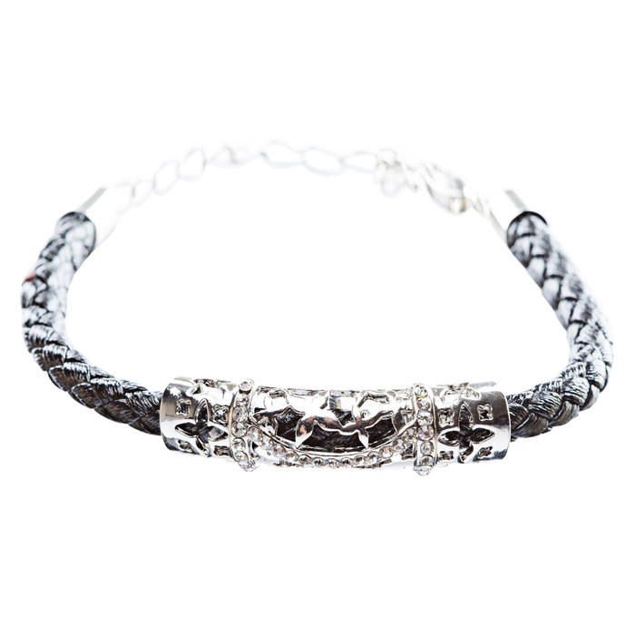 Simple Style Rope Cord Crystal Rhinestone Fashion Bracelet B459 Black Silver