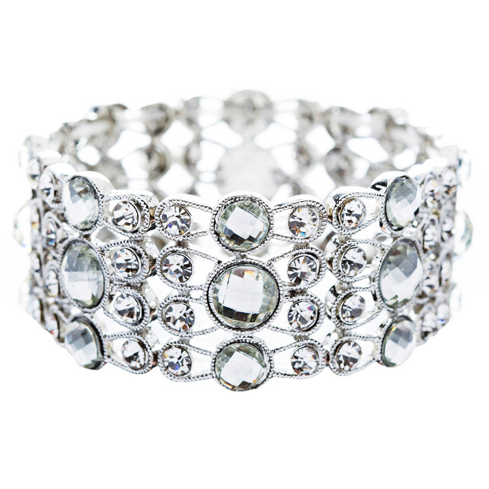 Bridal Wedding Jewelry Beautiful Chic Crystal Rhinestone Stretch Bracelet Silver