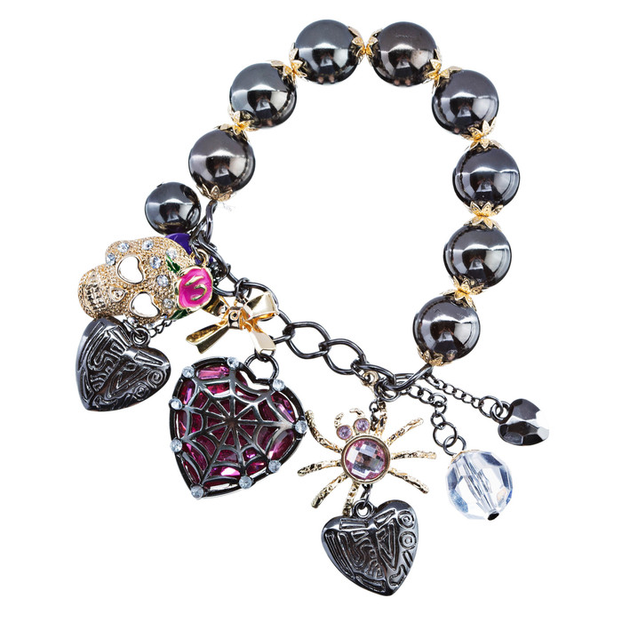 Halloween Costume Jewelry Crystal Rhinestone Dangle Multi Charm Stretch Bracelet