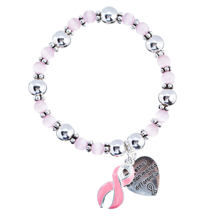 Pink Ribbon Breast Cancer Awareness Jewelry Heart Charm Stretch Fashion Bracelet