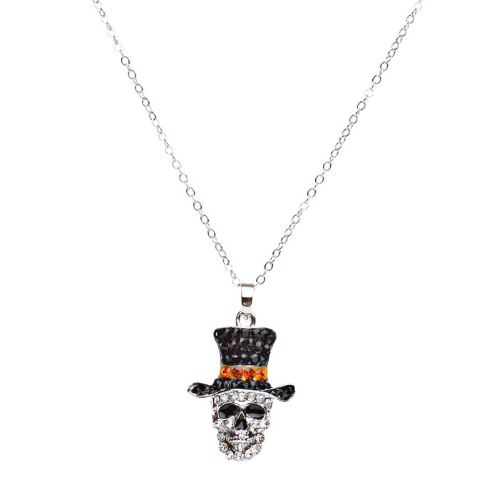Halloween Costume Jewelry Crystal Rhinestone Dazzle Skull with Hat Necklace