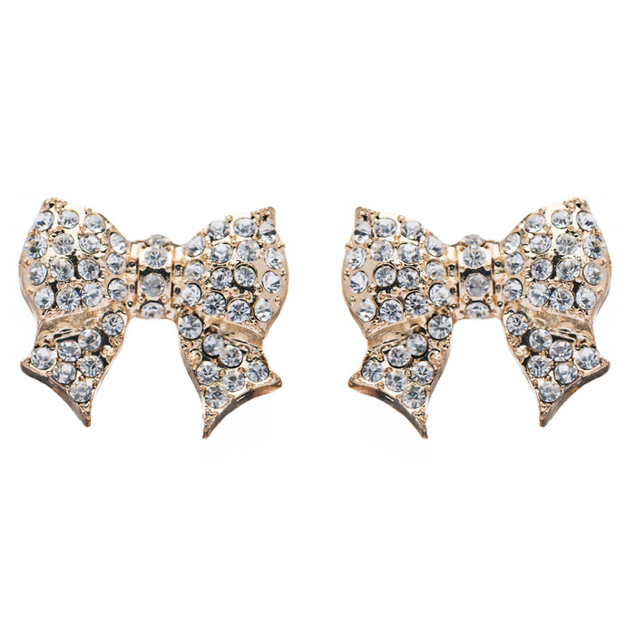 Gorgeous Fashion Ribbon Bow Design Crystal Rhinestone Pave Stud Earrings Gold