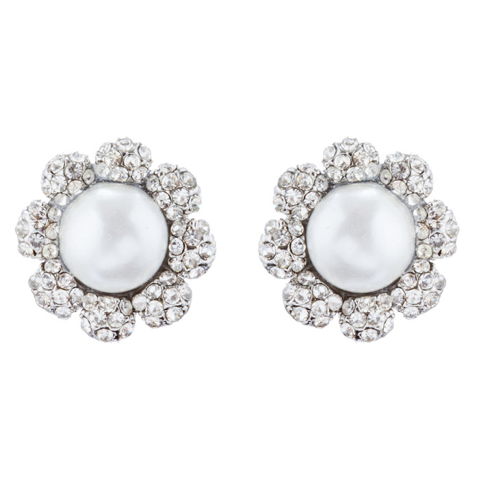 Bridal Wedding Jewelry Crystal Rhinestone Pearl Flowers Stud Earrings Silver WT