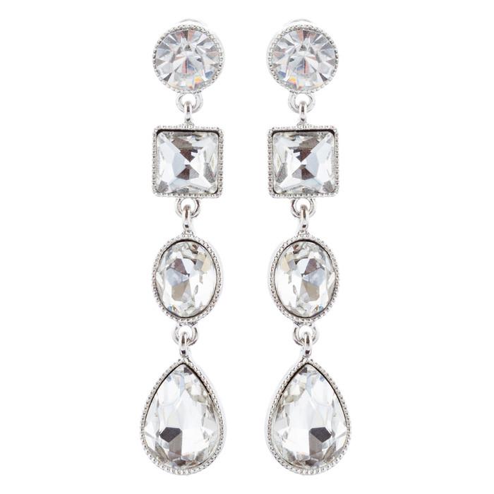 Bridal Wedding Jewelry Crystal Stones Multi Shapes Linear Drop Earrings Silver