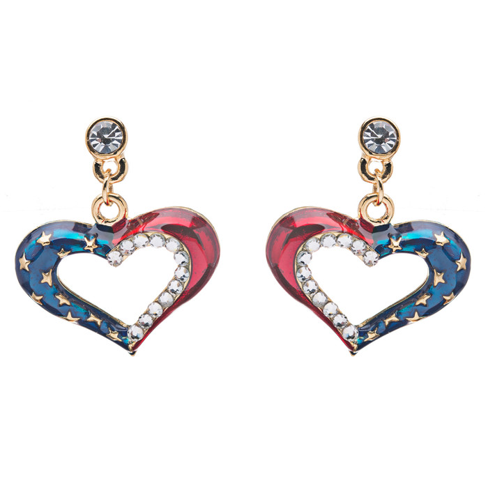 Patriotic American Flag Dazzling Crystal Rhinestone Heart Earrings Gold