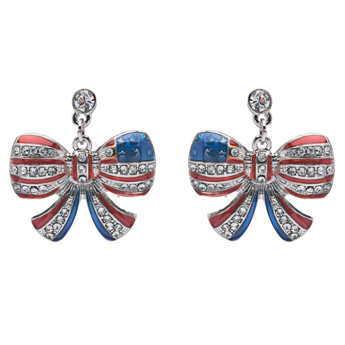 Patriotic American Flag Brilliant Crystal Rhinestone Ribbon Earrings Sliver