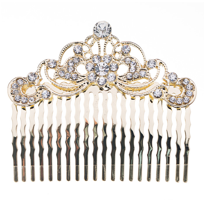 Bridal Wedding Jewelry Crystal Rhinestone Beautiful Vintage Hair Comb Pin Gold