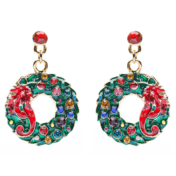 Christmas Jewelry Crystal Rhinestone Wreath Ribbon Charm Earrings Green Gold
