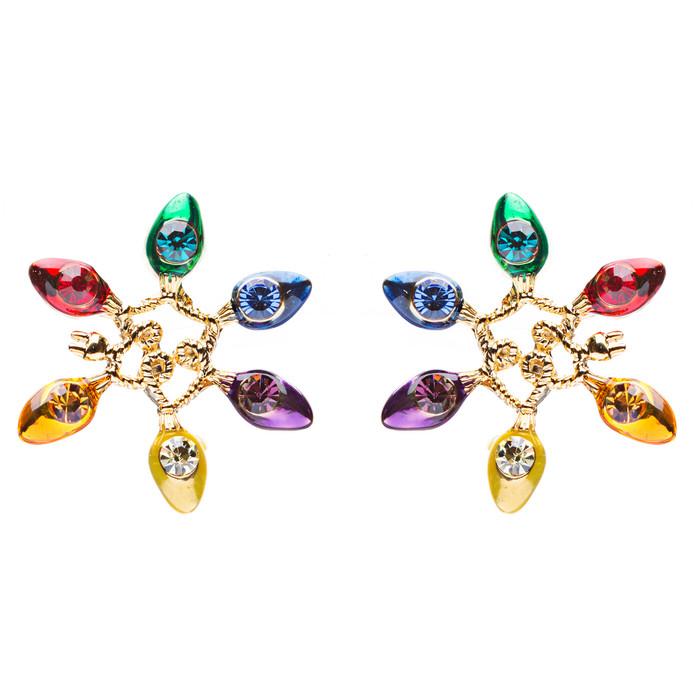 Christmas Jewelry Crystal Rhinestone String Light Bulbs Stud Fashion Earring GD