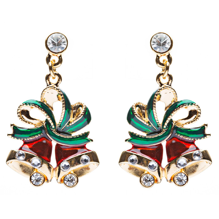 Christmas Jewelry Crystal Rhinestone Twin Bell Holiday Dangle Earrings Red