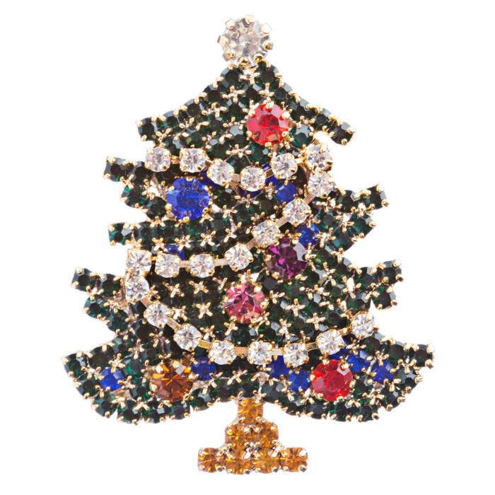 Christmas Jewelry Crystal Rhinestone Sparkle Tree Fashion Brooch Pin BH114 Green