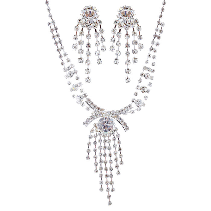 Bridal Wedding Jewelry Set Necklace Earring Crystal Rhinestone Tassel Silver