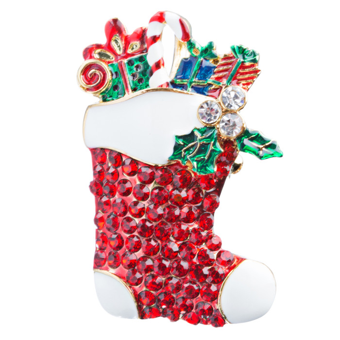 Christmas Jewelry Crystal Rhinestone Sparkle Stocking Presents Brooch Pin BH116
