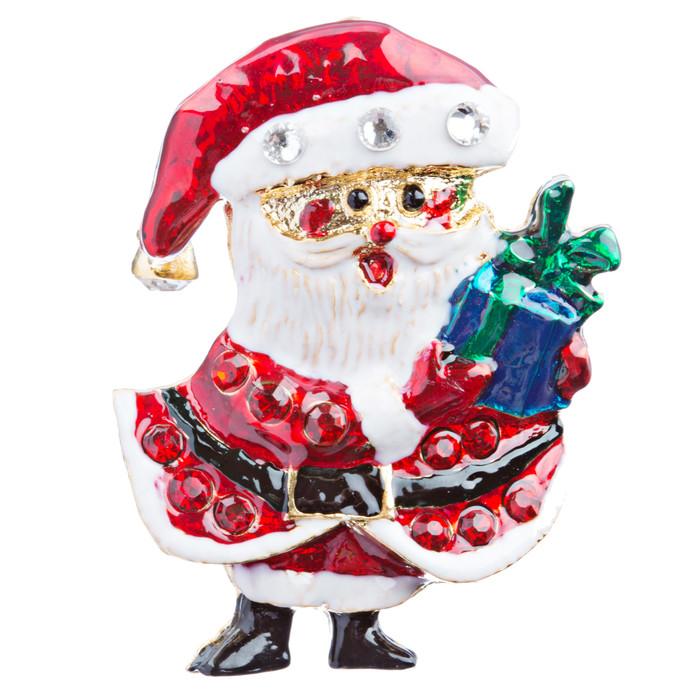 Christmas Jewelry Crystal Rhinestone Happy Santa Claus Tree Brooch Pin BH117 Red