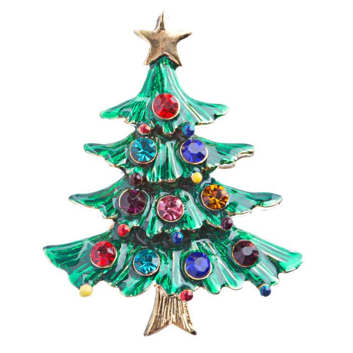 Christmas Jewelry Crystal Rhinestone Dazzle Tree Charm Brooch Pin BH118 Green