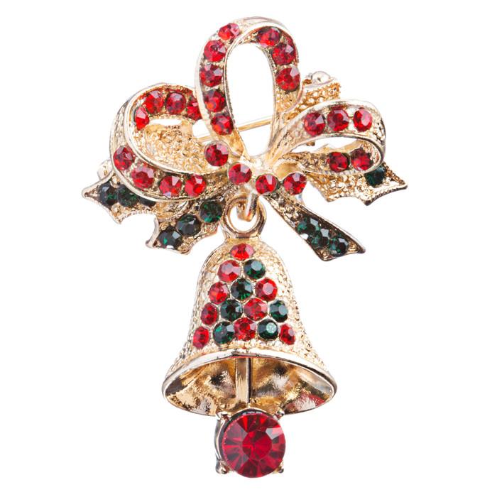 Christmas Jewelry Crystal Rhinestone Ribbon Bell Charm Fashion Brooch Pin BH121