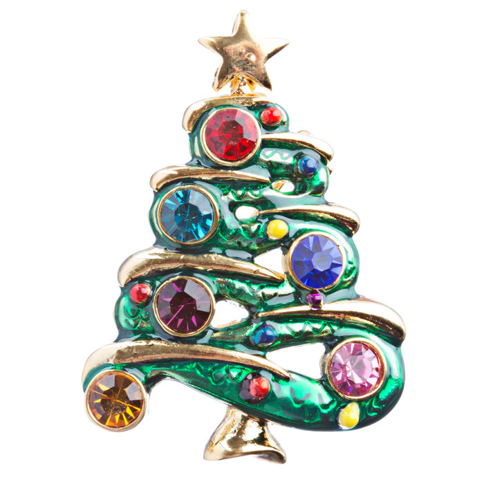 Christmas Jewelry Crystal Rhinestone Beautiful Decorated Tree Brooch Pink BH122