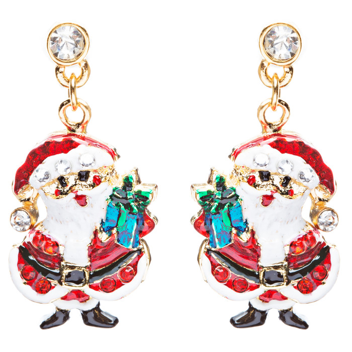 Christmas Jewelry Crystal Rhinestone Santa Claus Present Dangle Earrings E877