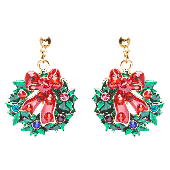 Christmas Jewelry Crystal Rhinestone Santa Wreath Dangle Charm Earrings E879