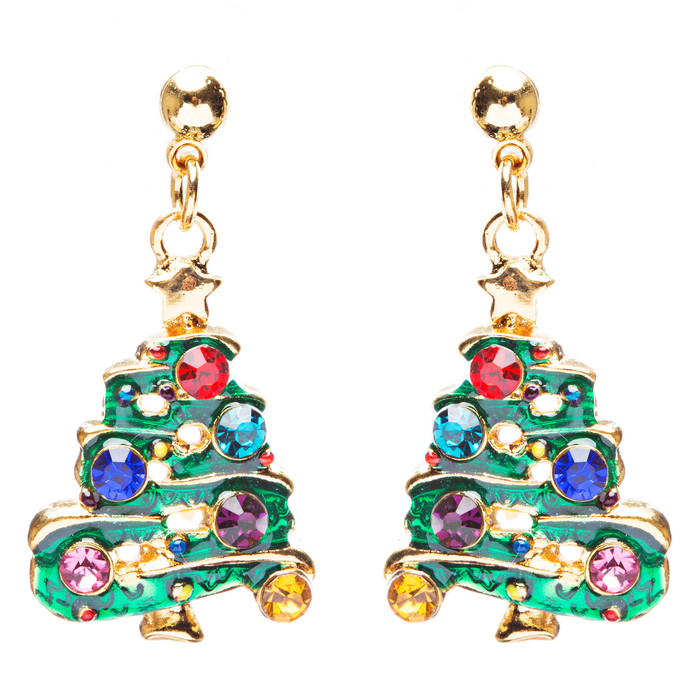 Christmas Jewelry Crystal Rhinestone Tree Dangle Charm Earrings E881 Green