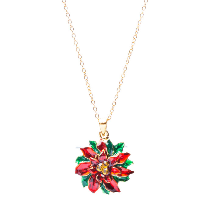Christmas Jewelry Crystal Rhinestone Wreath Charm Pendant Necklace N83 Gold Red