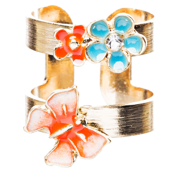 Adorable Butterfly Floral Decorated Crystal Fashion Open Ring R210 Gold Orange