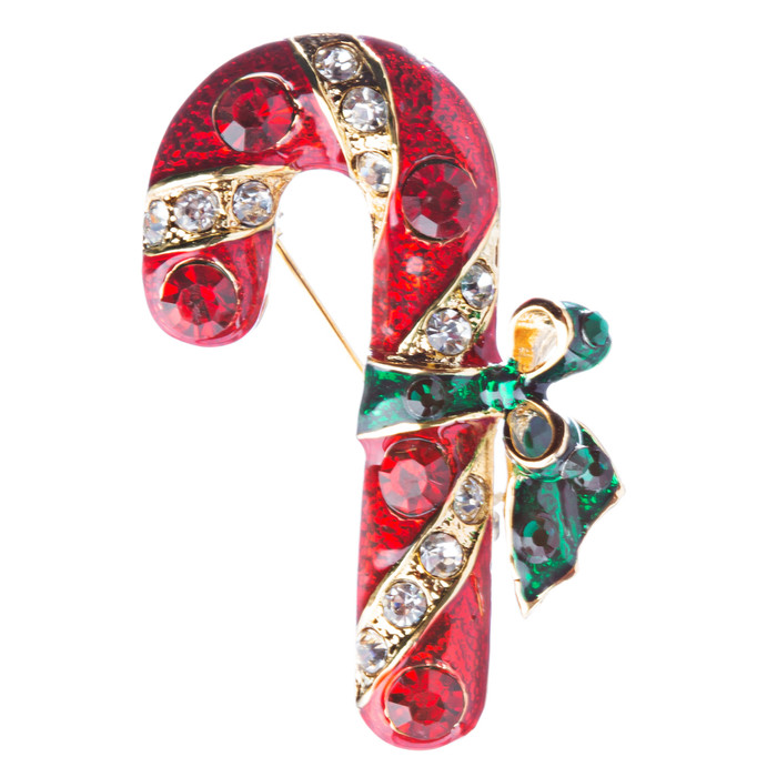 Christmas Jewelry Crystal Rhinestone Holiday Candy Cane Brooch Pin BH126 Gold