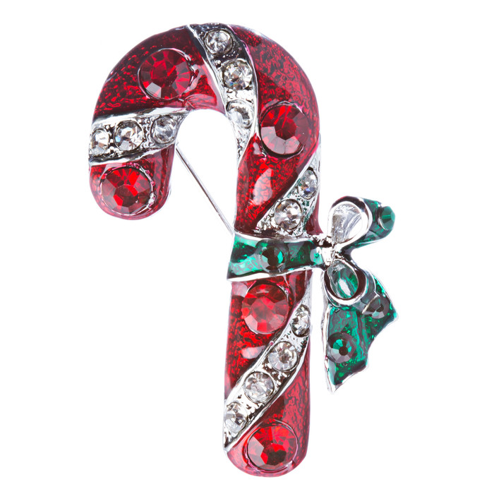Christmas Jewelry Crystal Rhinestone Holiday Candy Cane Brooch Pin BH126 Silver