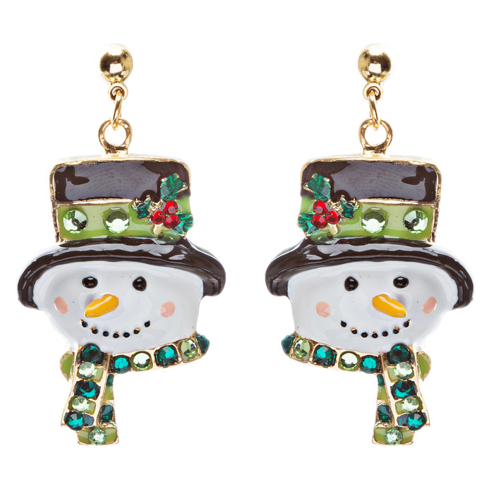 Christmas Jewelry Crystal Rhinestone Holiday Happy Snowman Face Earrings E884