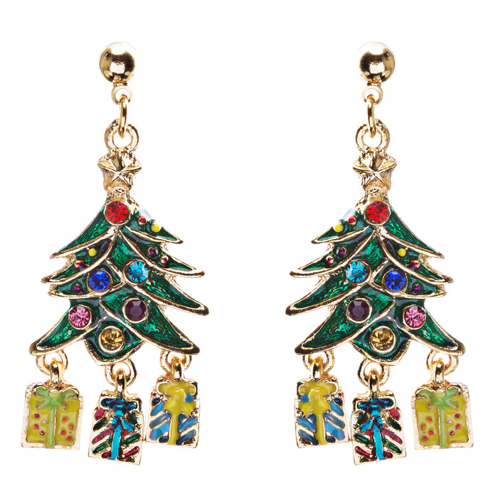 Christmas Jewelry Crystal Rhinestone Holiday Gift Present Tree Earrings E886