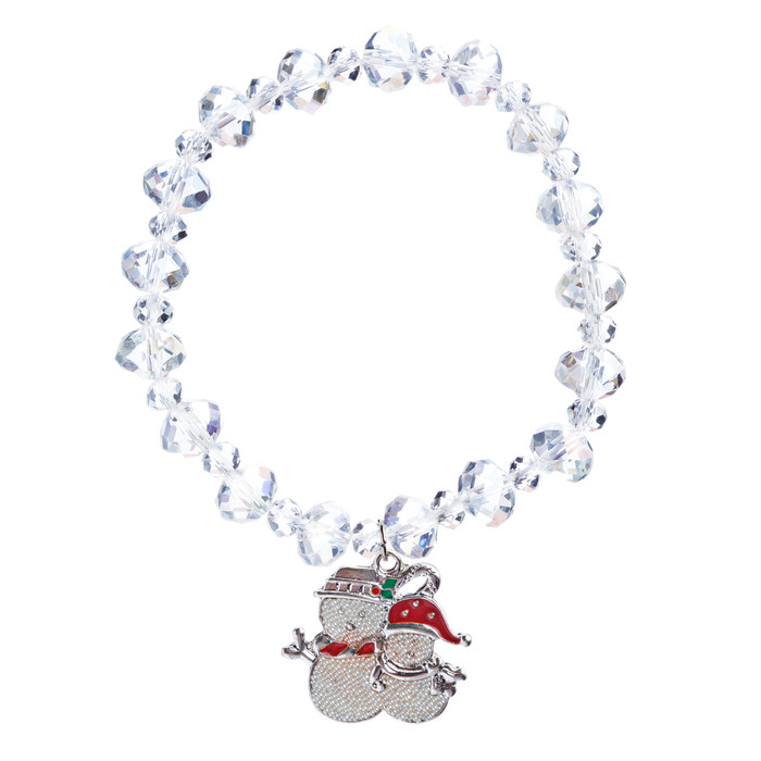 Christmas Jewelry Crystal Bead Snowman Charm Holiday Stretch Bracelet White B469