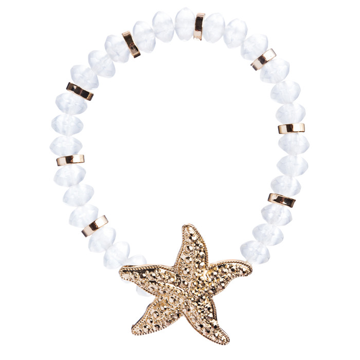 Ocean Starfish Bead Sea Glass Adorable Fun Stretch Fashion Bracelet B470 WH Gold